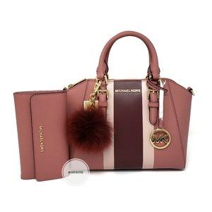 Michael Kors Medium Pink Ciara Satchel 3PC Set